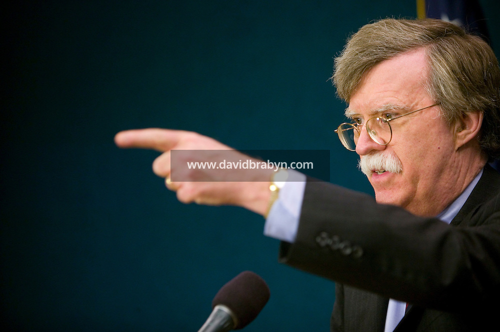 9 March 2006 - New York City, NY - US Ambassador to the UN, John R. Bolton talks to foreign press correspondents during a press briefing in New York City, USA, 9 March 2006. Photo Credit: David Brabyn.