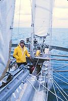 Alain Colas sur Pen-Duick IV, vainqueur de la Transat anglaise de 1972