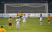 Matt Green of Mansfield Town scores from the penalty spot during the The Checkatrade Trophy  Quarter Final match between Mansfield Town and Wycombe Wanderers at the One Call Stadium, Mansfield, England on 24 January 2017. Photo by Andy Rowland.