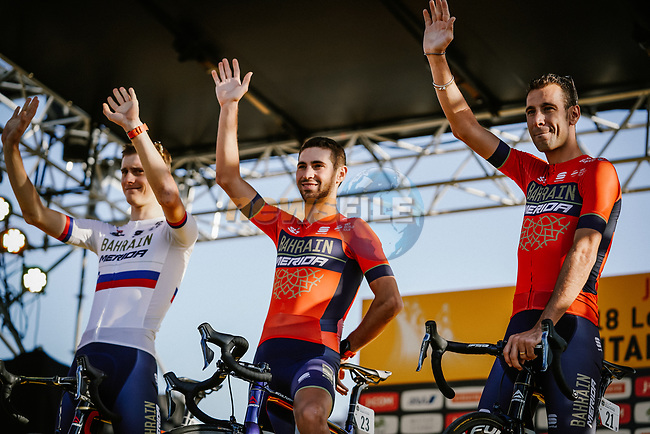 Vincenzo Nibali (ITA) and Bahrain-Merida team on stage at the media day before the 2018 Saitama Criterium, Japan. 3rd November 2018.<br /> Picture: ASO/Pauline Ballet | Cyclefile<br /> <br /> <br /> All photos usage must carry mandatory copyright credit (© Cyclefile | ASO/Pauline Ballet)