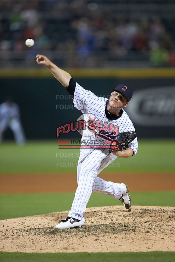 Matt Foster (22) of the Charlotte Hornets delivers a pitch to the plate against the Louisville Bats at BB&T BallPark on June 22, 2019 in Charlotte, North Carolina. The Hornets defeated the Bats 7-6. (Brian Westerholt/Four Seam Images)