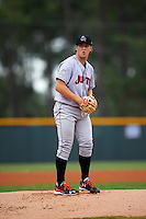 Jupiter Hammerheads starting pitcher Michael Mader (21) delivers a pitch during a game against the Lakeland Flying Tigers on March 14, 2016 at Henley Field in Lakeland, Florida.  Lakeland defeated Jupiter 5-0.  (Mike Janes/Four Seam Images)