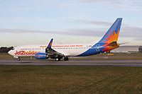 A Jet2 Boeing 737-8MG Registration G-JZBS at Manchester Airport on 11.2.19 going to Tenerife South Airport, Spain.