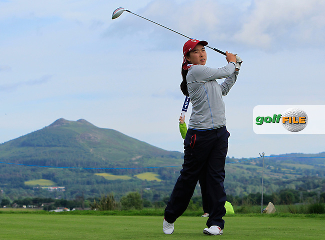 Mika Liu on the 10th tee during the Saturday Afternoon Fourballs of the 2016 Curtis Cup at Dun Laoghaire Golf Club on Saturday 11th June 2016.<br /> Picture:  Golffile | Thos Caffrey