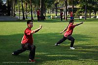 Thai man and woman practicing martial arts in park, Bangkok, Thailand
