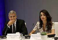 United States actor George Clooney (L) and wife Amal Clooney attend a Private Sector Call to Action Leaders Summit for Refugees during the United Nations 71st session of the General Debate at the United Nations General Assembly at United Nations headquarters in New York, New York, USA, 20 September 2016. Photo Credit: Peter Foley/CNP/AdMedia