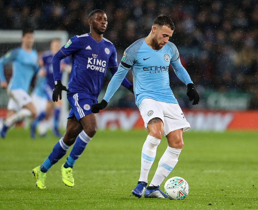Manchester City's Nicolas Otamendi <br /> <br /> Photographer Andrew Kearns/CameraSport<br /> <br /> English League Cup - Carabao Cup Quarter Final - Leicester City v Manchester City - Tuesday 18th December 2018 - King Power Stadium - Leicester<br />  <br /> World Copyright © 2018 CameraSport. All rights reserved. 43 Linden Ave. Countesthorpe. Leicester. England. LE8 5PG - Tel: +44 (0) 116 277 4147 - admin@camerasport.com - www.camerasport.com