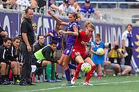 Orlando, FL - Sunday June 26, 2016: Dani Weatherholt, Emily Sonnett  during a regular season National Women's Soccer League (NWSL) match between the Orlando Pride and the Portland Thorns FC at Camping World Stadium.