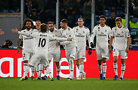 Gareth Bale of Real Madrid celebrates after scores during the Champions League Group  soccer match between AS Roma - Real Madrid  at the Stadio Olimpico in Rome Italy 27 November 2018