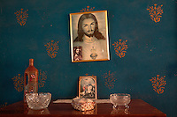 Pictures of Jesus Christ and Saint George in a room in a village house on the outskirts of South Ossetia, near Gori.....