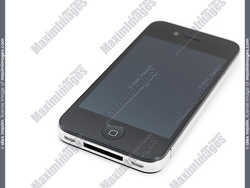 Apple iPhone 4 smartphone with clear screen isolated on white background
