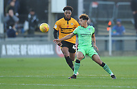 Colchester United's Courtney Senior under pressure from Newport County's Antoine Semenyo<br /> <br /> Photographer Kevin Barnes/CameraSport<br /> <br /> The EFL Sky Bet League Two - Newport County v Colchester United - Saturday 17th November 2018 - Rodney Parade - Newport<br /> <br /> World Copyright © 2018 CameraSport. All rights reserved. 43 Linden Ave. Countesthorpe. Leicester. England. LE8 5PG - Tel: +44 (0) 116 277 4147 - admin@camerasport.com - www.camerasport.com