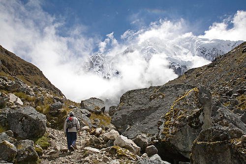 LONE HIKER CLIMBS TOWARD TO TOP OF THE ANDES IN PERU