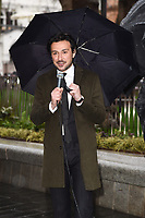 "Alex Zane at the launch of ""Scenes in the Square"" statue trail in Leicester Square, London.<br /> <br /> ©Ash Knotek  D3558 27/02/2020"