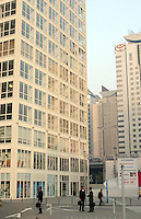 The new business district of SOHO in Beijing. The modern area comprises of several 30 story tower blocks separated into small units designed for small start up businessmen..