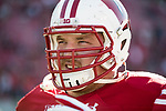 Wisconsin Badgers offensive lineman Beau Benzschawel (66) looks on during an NCAA Big Ten Conference football game against the Maryland Terrapins Saturday, October 21, 2017, in Madison, Wis. The Badgers won 38-13. (Photo by David Stluka)