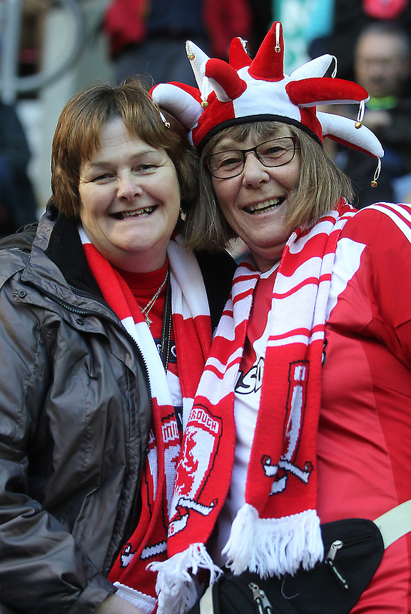 Middlesbrough Football Clubs fans<br /> <br /> Photographer Mick Walker/CameraSport<br /> <br /> Football - The Football League Sky Bet Championship - Wigan Athletic v Middlesbrough - Saturday 22nd November 2014 - DW Stadium - Wigan<br /> <br /> &copy; CameraSport - 43 Linden Ave. Countesthorpe. Leicester. England. LE8 5PG - Tel: +44 (0) 116 277 4147 - admin@camerasport.com - www.camerasport.com