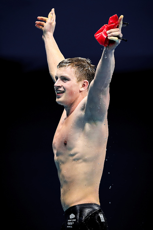 Picture by Alex Whitehead/SWpix.com - 07/08/2016 - 2016 Rio Olympic Games - Swimming - Rio de Janeiro, Brazil - Great Britain's Adam Peaty wins Gold in the Men's 100m Breaststroke Final.