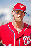 24 May 2015: Washington Nationals outfielder Bryce Harper returns to the clubhouse after a game against the Philadelphia Phillies at Nationals Park in Washington, DC. The Nationals defeated the Phillies 4-1 to take the rubber game of their 3-game weekend series. Mandatory Credit: Ed Wolfstein Photo *** RAW (NEF) Image File Available ***