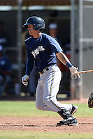 Milwaukee Brewers second baseman Angel Ortega (9) during an Instructional League game against the Seattle Mariners on October 4, 2014 at Peoria Stadium Training Complex in Peoria, Arizona.  (Mike Janes/Four Seam Images)