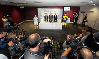 Pictured L-R: Leon Britton, Albert Sin, Goldenway Precious Metal operation manager, chairman Huw Jenkins, Darren Vickers, Goldenway UK director and Ben Davies at the official launch of the 2013-2014 Swansea City Football Club kit launch at the Liberty Stadium, Swansea, south Wales. Friday 28th of June 2013