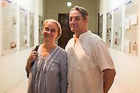 """De izquierda a derecha Margarita de Orellun, el escritor Alberto Ruy Sanchez durante la exposicion de Marcela Lobo """"Cuerpos Vibrantes"""" en el museo MACAY de Merida Yucatan el 19 de Julio del 2013.<br /> Foto: Mauricio Palos /NortePhoto"""