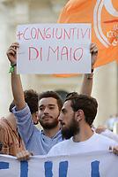 Roma, 18 Giugno 2018<br /> Protesta dei Giovani Democratici davanti il Parlamento contro il Governo e la politica sull'accoglienza dei migranti del Ministro Matteo Salvini
