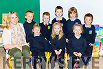 Orla O'Donoghue with her junior infant class in Scoil Ide Curranes, Castleisland on Tuesday (no name policy)