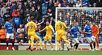 14.09.2019 Rangers v Livingston: Steven Lawless celebrates his penalty goal