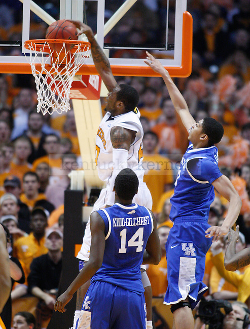 Tennessee's Kenny Hall dunks the ball during the second half of UK's game against Tennessee at Thompson-Boling Arena in Knoxville, Tenn., Jan. 14, 2012.Photo by Brandon Goodwin | Staff