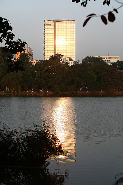 An office building gleams in the afternoon sun near the Lake of the Restored Sword in the Old Quarter of Hanoi, Vietnam. Nov. 12, 2012.