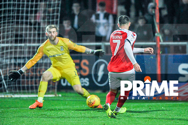 Fleetwood Town's forward Wes Burns (7) puts his side 2-0 up during the Sky Bet League 1 match between Fleetwood Town and Coventry City at Highbury Stadium, Fleetwood, England on 27 November 2018. Photo by Stephen Buckley / PRiME Media Images.