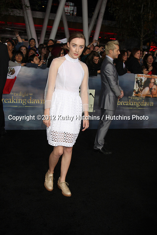 """LOS ANGELES - NOV 12:  Saoirse Ronan arrive to the 'The Twilight Saga: Breaking Dawn - Part 2"""" Premiere at Nokia Theater on November 12, 2012 in Los Angeles, CA"""