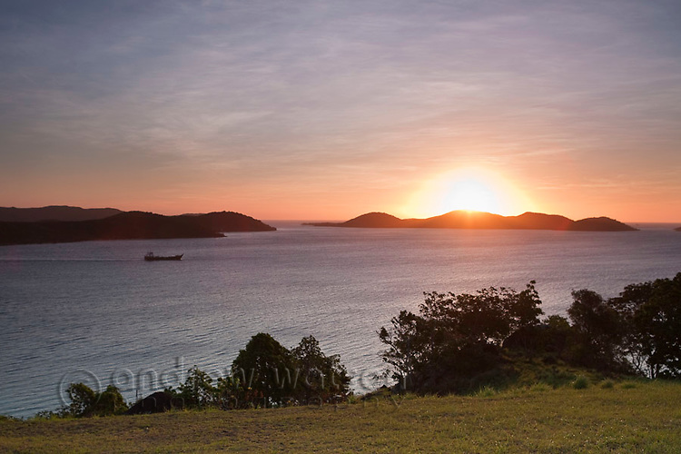 Sunset over the Torres Strait Islands, viewed from Green Hill Fort.  Thursday Island, Torres Strait Islands, Queensland, Australia