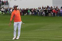 Rickie Fowler (USA) chipping onto the 18th green during the final round of the Waste Management Phoenix Open, TPC Scottsdale, Scottsdale, Arisona, USA. 03/02/2019.<br /> Picture Fran Caffrey / Golffile.ie<br /> <br /> All photo usage must carry mandatory copyright credit (&copy; Golffile | Fran Caffrey)