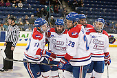 Zack Kamrass (UML - 27), Ryan McGrath (UML - 10), Jake Suter (UML - 28), Joe Gambardella (UML - 5), Derek Arnold (UML - 29) - The University of Massachusetts Lowell River Hawks defeated the visiting American International College Yellow Jackets 6-1 on Tuesday, December 3, 2013, at Tsongas Arena in Lowell, Massachusetts.