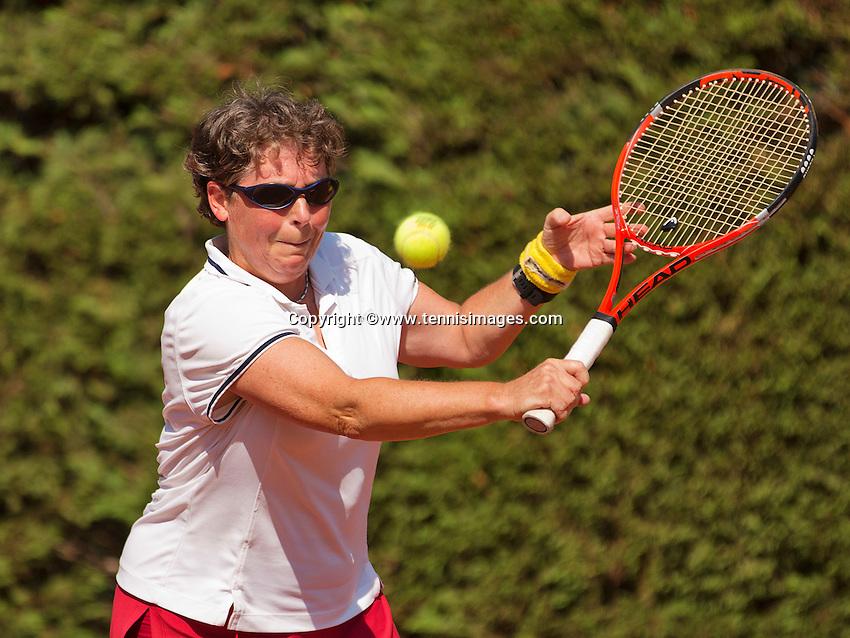 Netherlands, Amstelveen, August 22, 2015, Tennis,  National Veteran Championships, NVK, TV de Kegel,  Lady's  55+, Annelies Simons<br /> Photo: Tennisimages/Henk Koster
