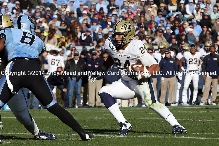 15 November 2014: Pitt's James Conner. The University of North Carolina Tar Heels hosted the University of Pittsburgh Panthers at Kenan Memorial Stadium in Chapel Hill, North Carolina in a 2014 NCAA Division I College Football game. UNC won the game 40-35.