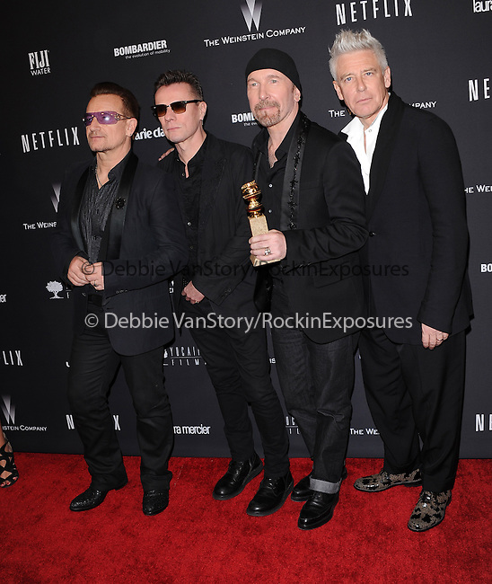 U2<br />  attends THE WEINSTEIN COMPANY & NETFLIX 2014 GOLDEN GLOBES AFTER-PARTY held at The Beverly Hilton Hotel in Beverly Hills, California on January 12,2014                                                                               © 2014 Hollywood Press Agency