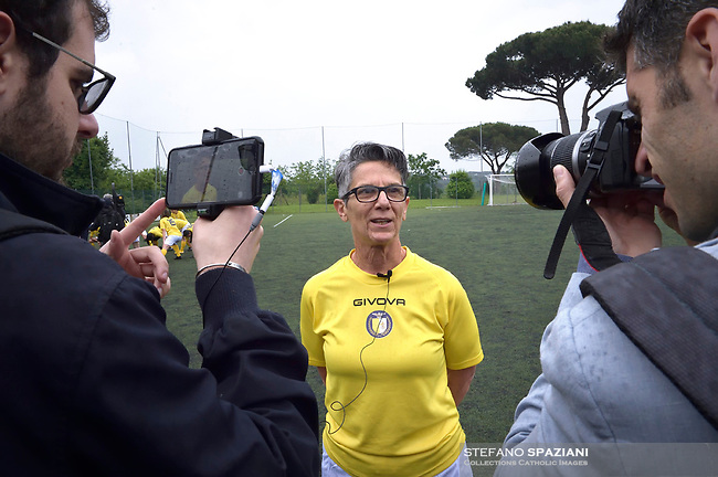 "The women's soccer team of Vatican City. 26 may 2019<br /> Francesca Stoppa, soccer player and resuscitator of the Bambin Gesù.<br /> <br /> Women's football arrives at the Vatican, with what can be considered in all respects the women's national football team of the Holy See. The Vatican representative, announced in recent weeks, made its debut yesterday afternoon, Sunday 26 May, in the sports center of the Knights of Columbus, against the Roma women's team of Roma.<br /> The girls that make up the team are all Vatican employees or wife and daughters of staff of the Holy See, plus some players from the Bambino Gesù hospital team who joined for this 11-a-side football match. «We are born in an amateur way - he tells the attacker and captain of the Vatican Eugene Tcheugoue - and playing together represents for us above all a way to get to know and be together ».<br /> <br /> The young soccer player, a graduate in theology and a native of Cameroon, has no doubts about the great important symbolism of the team: ""Many of us are mothers even before they are employees or at least daughters and wives, so in the first place for us is the metaphor of football as a gym of life. Sport in general - says Eugene Tcheugoue - conveys a fundamental message, both for the new generations and in particular for women ""."