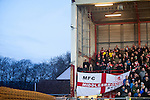 Bristol City 1 Middlesbrough 0, 16/01/2016. Ashton Gate, Championship. Middlesbrough supporters pictured in the Atyeo Stand during the game between managerless Bristol City and Championship leaders Middlesbrough. Ashton Gate is located in the south-west of the city, it currently has an all-seated capacity of 16,600, due to redevelopment, which will increase to a capacity of 27,000 by the start of the 2016-17 season. Bristol City won the game one goal to nil with a headed injury time winner. Photo by Simon Gill