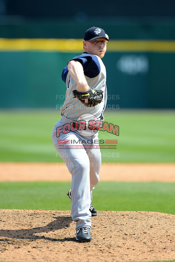 Charlotte Knights pitcher David Purcey #44 during a game against the Buffalo Bisons on May 19, 2013 at Coca-Cola Field in Buffalo, New York.  Buffalo defeated Charlotte 11-6.  (Mike Janes/Four Seam Images)