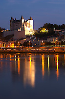 Chateau de Saumur along the river. Saumur, Loire, France