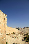 A view from the medieval structure at the Jerusalem Archaeological Park, Mount of Olives is in the background