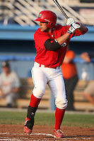 Batavia Muckdogs catcher Geoffrey Klein (32) during a game vs. the Connecticut Tigers at Dwyer Stadium in Batavia, New York July 8, 2010.   Connecticut defeated Batavia 4-2 in extra innings.  Photo By Mike Janes/Four Seam Images