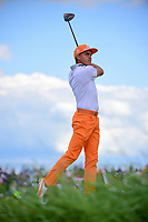 Rickie Fowler (USA) watches his tee shot on 7 during Sunday's round 4 of the 117th U.S. Open, at Erin Hills, Erin, Wisconsin. 6/18/2017.<br /> Picture: Golffile | Ken Murray<br /> <br /> <br /> All photo usage must carry mandatory copyright credit (&copy; Golffile | Ken Murray)