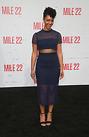 "9 August 2018-  Westwood, California - Nemuna Ceesay. Premiere Of STX Films' ""Mile 22"" held at The Regency Village Theatre. Photo Credit: Faye Sadou/AdMedia"