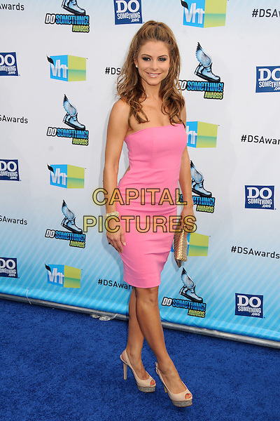 Maria Menounos.The 2012 Do Something Awards at the Barker Hangar in Santa Monica, California, USA..August 19th, 2012.full length pink strapless dress beige platform shoes clutch bag gold.CAP/ADM/BP.©Byron Purvis/AdMedia/Capital Pictures.