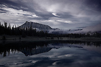 Sunrise on Cascade Ponds in Banff with Mount Rundle in the background, Black and White