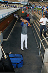 LOS ANGELES, CA. - September 02: Matt Kemp of the Los Angeles Dodgers  playing mini-basketball in the Dodger dugout beofre the ceremonial first pitch at Dodger Stadium in Los Angeles, California on September 2, 2009.